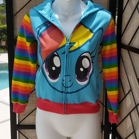 My Little Pony Girls Rainbow Dash Roleplay Hoodie with 3D Ears Mane and Wings